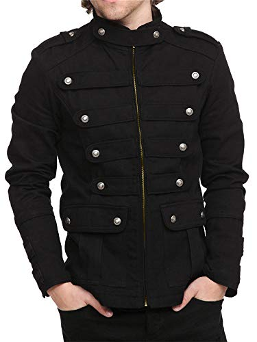 Karlywindow Mens Gothic Military Jackets Casual Band Steampunk Vintage Stylish Jacket with Pockets Black