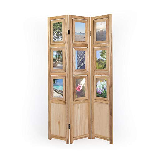 Homestyle4u 1144, Foto Paravent Raumteiler 3 teilig, Fotowand Holz, Natur