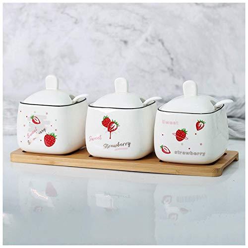 Barattolo di condimento ceramico, barattolo di condimento della cucina della famiglia a tre pezzi, shaker di sale, ciotola di zucchero della bottiglia di condimento, set di scatola di condimento TINGG