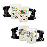 Topshop24you 1 divertido mando de juego de taza de cerámica de 350 ml ideal para jugadores con texto 'Game Over'.