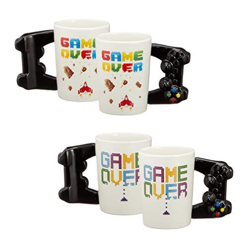 Topshop24you 1 x witziger Game Becher Controller für ca. 350 ml aus Keramik idealer Gamer-Becher mit Aufschrift Game Over