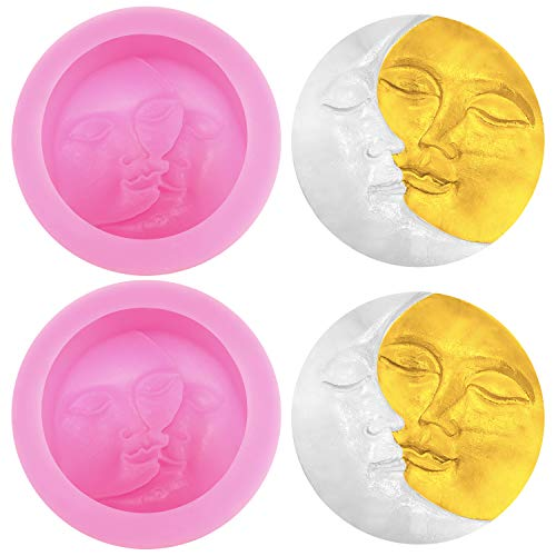 2 Pieces Silicone Soap Molds, Sun and Moon Face Silicone Molds for Soap Making, DIY, Handmade Bath Bomb, Lotion Bar, Polymer Clay, Wax, Crayon