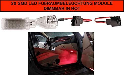 2 luces LED rojas para iluminación de la zona de los pies regulables (VW030901)