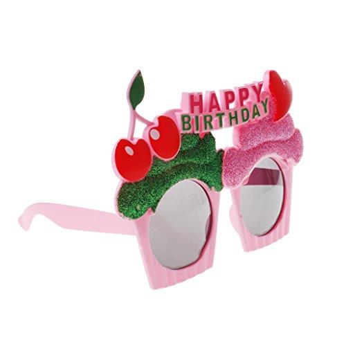 Gazechimp Happy Birthday Lunettes de Soleil en Plastique Motif de Petit Gâteau Accessoire d'Anniversaire -Rose