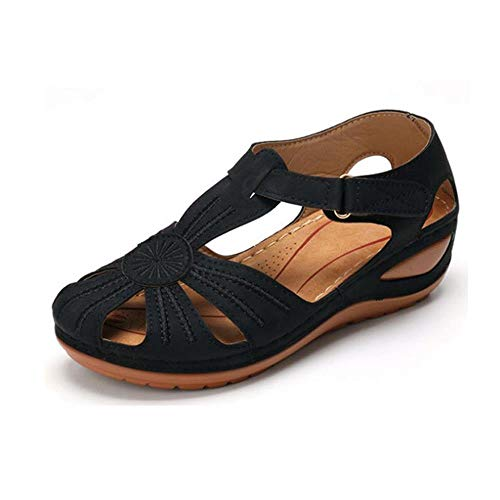 Women Comfortable Cutout Hook and Loop Summer Athletic Wedge Sandals Hollow Round...