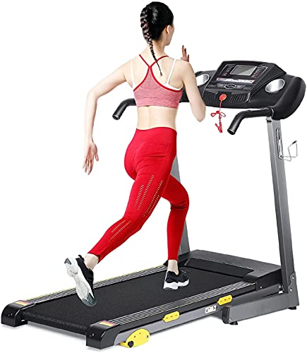 Treadmill for Home Folding Treadmill Electric Treadmill Workout Running Machine with 3-Level Manuel Incline Adjustment & Pre-Set Training Programs Large LCD Display Cup Holder for Home Use