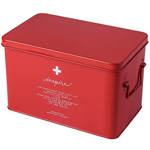QXTT Medizinschrank Metall Medizinbox Erste Hilfe Box Aufbewahrungskasten Medizin Box Mit Griff Mit Herausnehmbarem Ablagefach Arzneimittelbox Medikamentenbox Organizer,Red-M