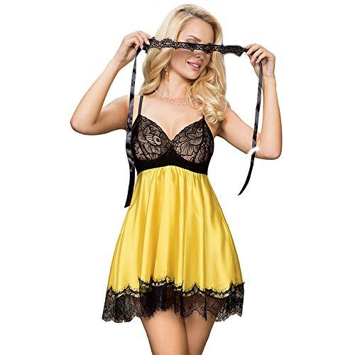 Pratiharye Above Knee Satin Babydoll Dress Women Nightwear/Nighty|Lace Neck and...