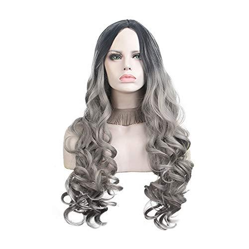 LianHongTouZiGuanLi Mujer 22 Pulgadas Sexy Wave Woman Silver Grey Wig Temperatura de Alta Temperatura Fibra química química sintética Perman de Perman de Permano Pelucas de Partido Cosplay