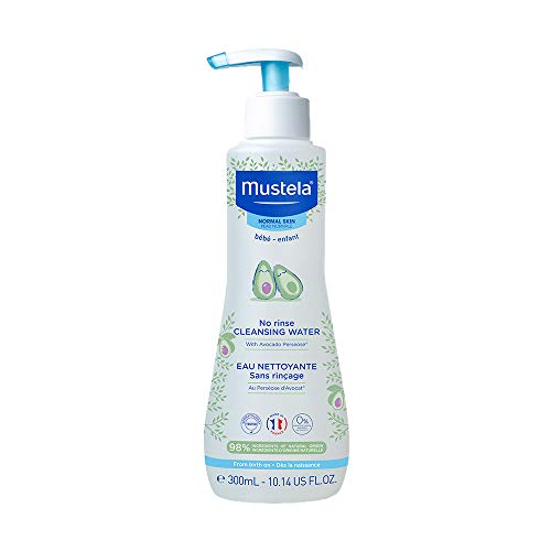 Mustela Baby Cleansing Water - No-Rinse Micellar Water - with Natural Avocado & Aloe Vera - for Baby's Face, Body & Diaper – 10.14 Fluid Ounce