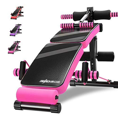 Back Machines Weight Bench Sit-ups Fitness Equipment Domestic Foldable Fitness Chair Multifunctional Dumbbell Bench 4 Levels of Adjustable (Color : Pink, Size : 140 * 70 * 40cm)
