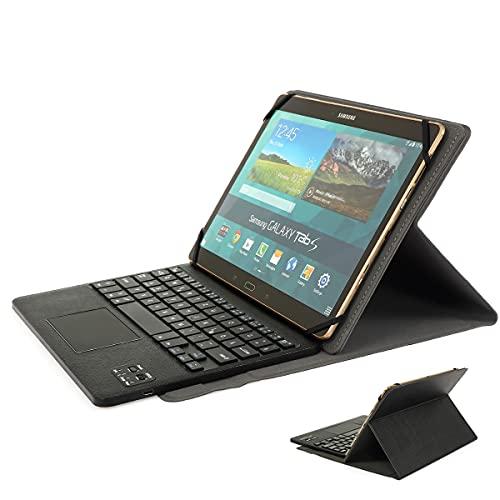 Bluetooth Tastatur Wiederaufladbare QWERTZ Funktastatur mit Tastatur Hülle & Touchpad für Windows/Android