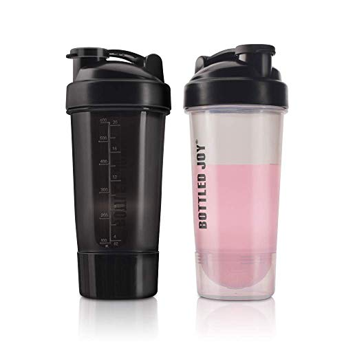 Protein Shaker Bottle with Powder Storage BPA Free 24 OZ Mixer Cups 2 Pack - No Blending Ball or Whisk Needed