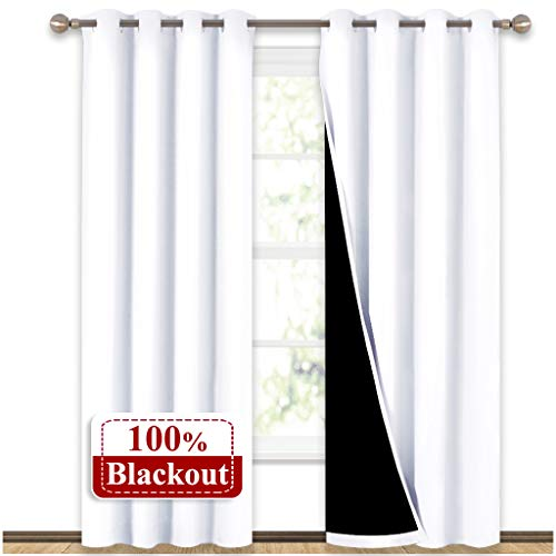 NICETOWN 100% Blackout Window Curtain Panels, Heat and Full Light Blocking Drapes