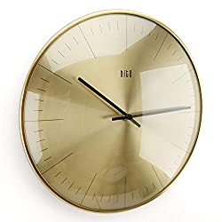 hito Silent Non Ticking Wall Clock Glass Front Cover Accurate Sweep Movement 12 inch Modern Decorative for Kitchen, Living Room, Bathroom, Bedroom, Office (Gold 1)