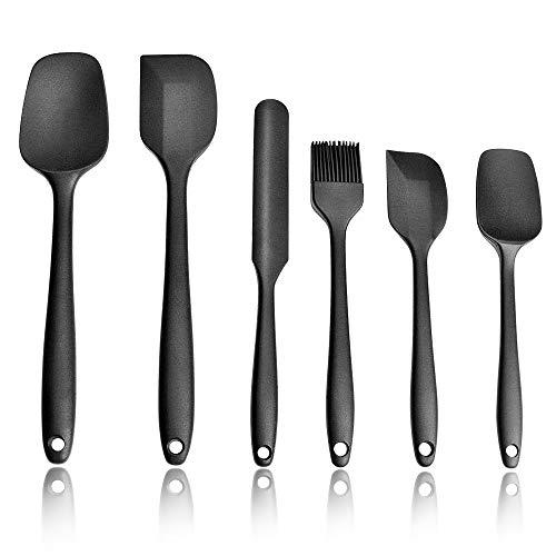 Asdirne Silikon Spatel, 6 Stück Hochwertige Küchenhelfer in Lebensmittelqualität, Hitzebeständiges Kochgeschirr, Kochen & Backen (Schwarz)