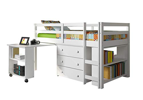 Donco Kids Low Study Loft Bed, White