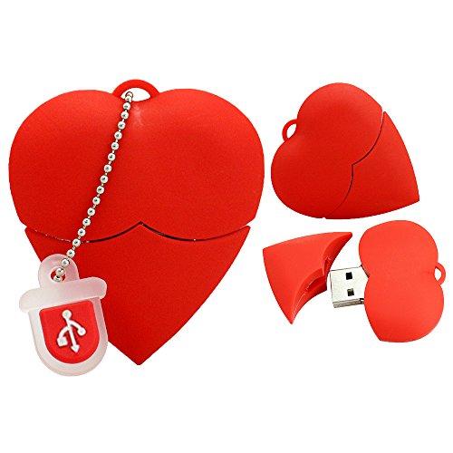 Chiavetta USB 2.0 da 32 GB Chiavetta USB a forma di cuore rossa in silicone per il regalo di San Valentino