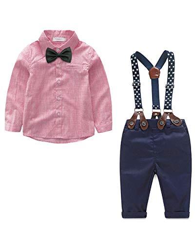 Yilaku Ropa para Bautizo Bebe niño Ropa de otoño Recién Nacido Ropa para niños Traje de niños Suspender Pantalones + Top + Pajarita (Rojo,2-3 años)