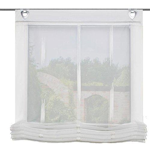 Home Fashion ÖSENRAFFROLLO Voile SCHERLI, Stoff, Natur, 140 x 95 cm, 2-Einheiten