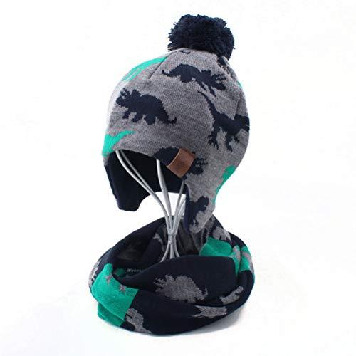 Ensemble Bonnet et Écharpe en Tricot d'hiver pour Enfant 2 Pièces Kids Hiver Earflap Bonnet Chapeau Pompon Chapeaux Tricotés pour Garçons et Filles