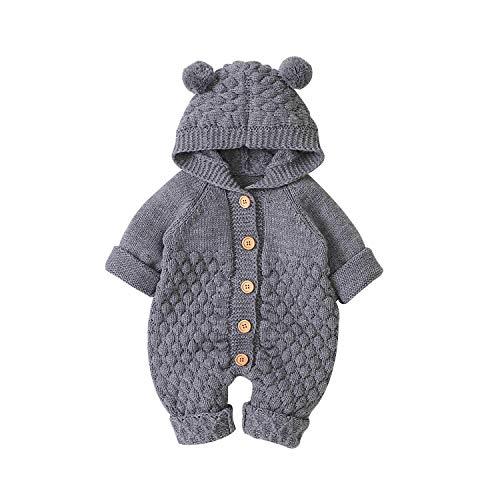 Bebé Recién Nacido Mono Unisex de Punto para Niños Niñas Mameluco Ropa Suéter Invierno Cálido con Diseño Infantil de Oreja Oso en Capucha Traje de Una Pieza (Gris, 6-12 Meses)