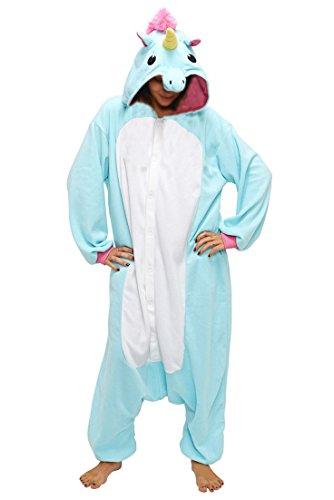 """Anebalrui Damen Herren Jumpsuit Overall Fasching Tier Einhorn Kostüm fasching Anime Cosplay Halloween Karneval Kostüm Schlafanzug Pyjama Erwachsene (XL für 176cm-185cm/69.0\""""-72.8\"""", Blaues Einhorn)"""