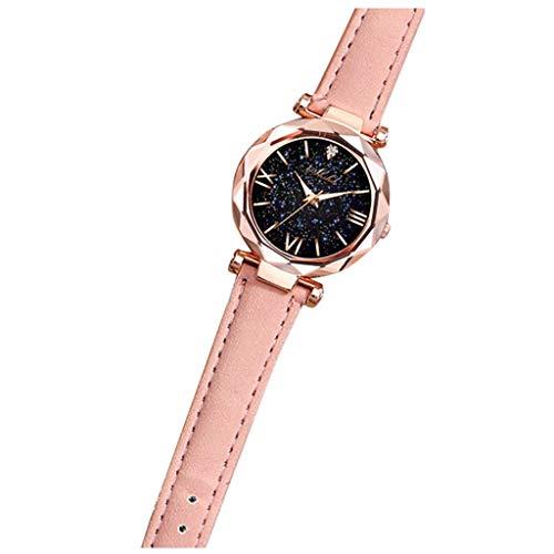 Neubula Reloj de pulsera para mujer, cuarzo, analógico, con correa de piel, reloj de números romanos, a la moda, con diseño de estrella, regalo elegante para madres, hermanas, novias (23 cm), rosa