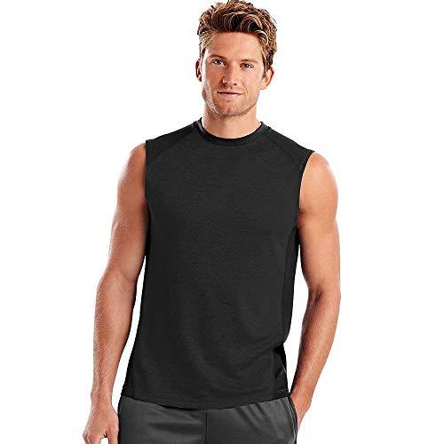Camiseta Hanes Sport Performance Muscle para hombre, O5425, L, Negro