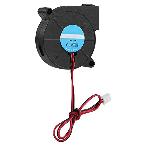 Crisis Ventilador soplador Lasko de 50 * 50 * 15 mm, Negro 5015 Ventilador de enfriamiento ABS 12V / 24V Ventilador Turbo Ventilador Turbo, para Impresora 3D para Accesorios de Bricolaje(24V)