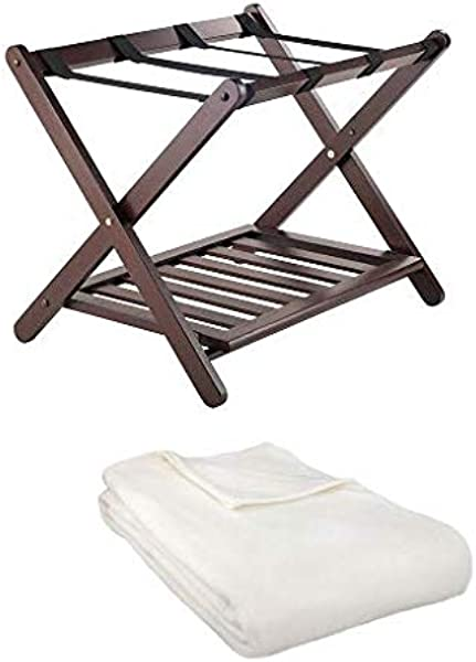 Winsome Remy Luggage Rack With Shelf And Blanket Cappuccino