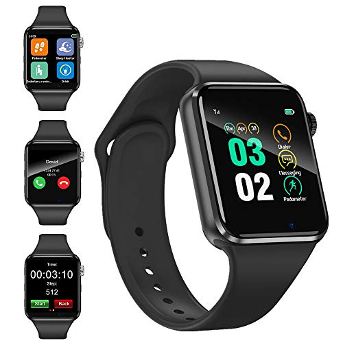 Smart Watch, Touch Screen Smartwatch Fitness Trackers Watch with Camera Pedometer Sleep Monitor Music Player SIM SD Card Slot Compatible iOS Android Phones for Women Men (Black)