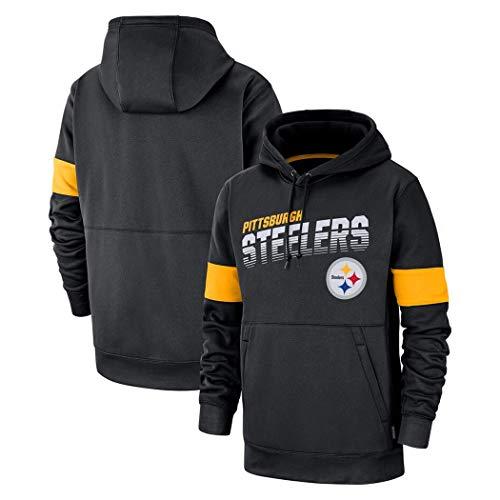 for Pittsburgh Steelers Männer Lässige Hoodie Sweatshirt American Football Kapuzenpulli Sport Und Freizeit Blacks (Color : Black, Size : XXXL)