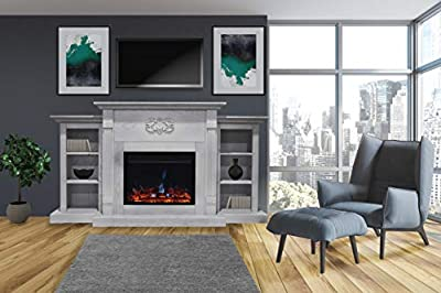 CAMBRIDGE Sanoma Heater with 72-in. White Mantel, Bookshelves, Enhanced Multi-Color Log Display, and Remote, CAM7233-1WHTLG3 Electric Fireplace