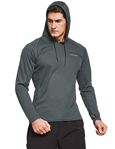 BALEAF Men's UPF 50+ Sun Protection Hoodie Long Sleeve Thumbholes SPF Fishing Shirts Rash Guard Grey XXXL