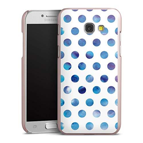 DeinDesign Handyhülle kompatibel mit Samsung Galaxy A5 Duos 2017 Cover rosé Gold Schutzhülle Polka Dots weiß Blau
