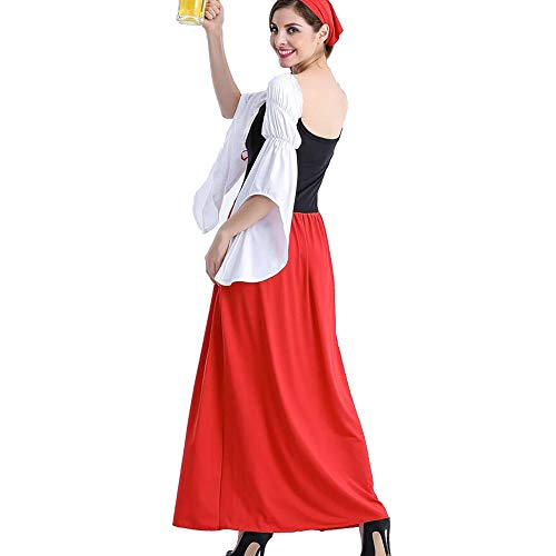 Disfraz De Mujer Adulta Bávara Oktoberfest Beer Maid Disfraz, para Oktoberfest Halloween Carnival (2 Piezas : Vestido, Pañuelo En La Cabeza),S