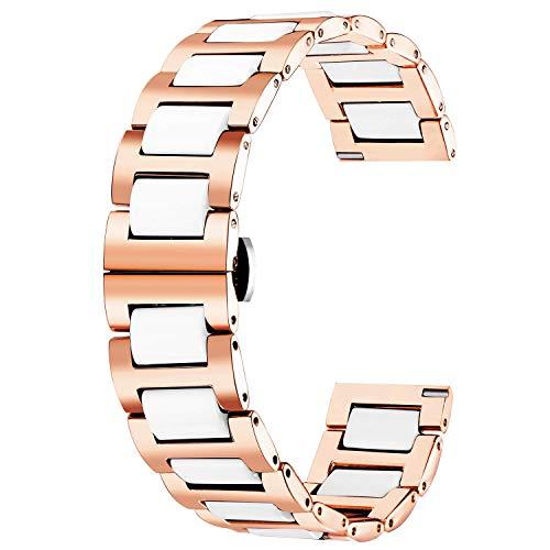 Pulsera de reloj de reloj de reemplazo de reloj de reloj de cerámica de acero inoxidable Correa pulida 12mm / 14mm / 16mm / 18mm / 20mm / 22mm con hebilla de mariposa 6 colores correas de reloj HAOHAN