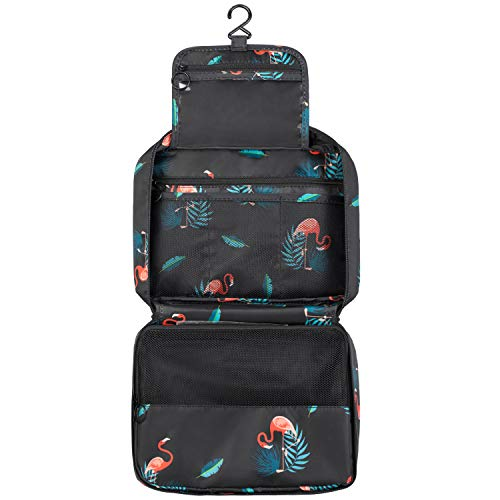 BOOEEN Travel Toiletry Bag, Waterproof Hanging Travel Bags, Toiletry Bag for Women and Girls (Black)