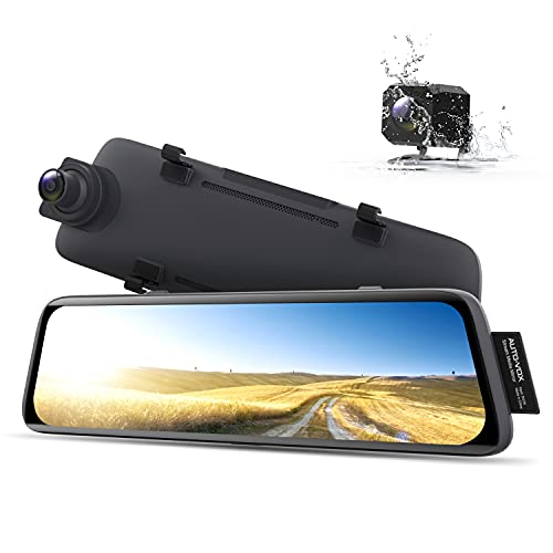 AUTO-VOX V5 Without Glare Mirror Dash Cam for Driving Safety, 9.35'' Full Laminated Ultrathin Touch Screen Rear View Mirror Camera, Dual 1080P Super Night Vision Backup Camera with Sony Sensor