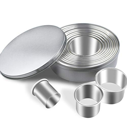12 Pieces Round Cookie Cutters Set Stainless Steel Cookie Cutter Set Biscuit Plain Edge Round Cutters Circle Baking Metal Ring Molds Metal Ring Baking Molds Circle Donut Cutter Set Christmas Gift