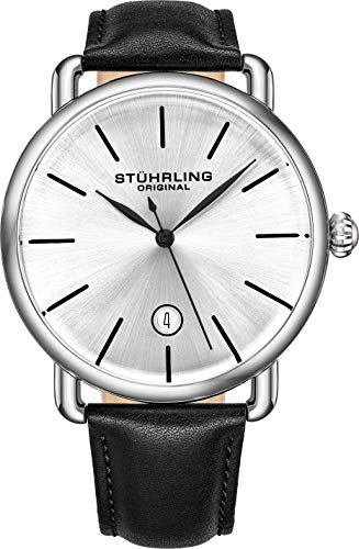 Stuhrling Original Mens Watch Calfskin Leather Strap - Vintage Style Lugs - Silver Analog Watch Dial with Date, 3913 Ascot Watches for Men Collection (Black/Silver)