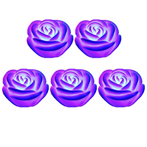 Uonlytech 5 Pcs Flameless Candle Flower Night Light LED Tea Lights Waterproof Floating Rose for Pool Garden Fish Tank Wedding Party Decor Purple