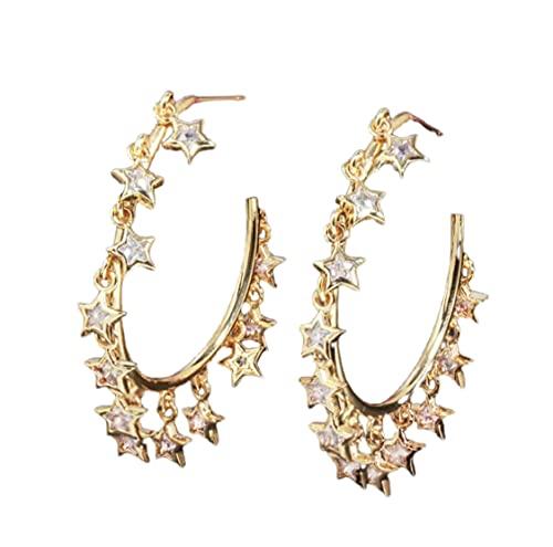 Pendientes de aro de oro con circonita cúbica y brillantes colgantes de estrella para mujeres, mujeres y niñas