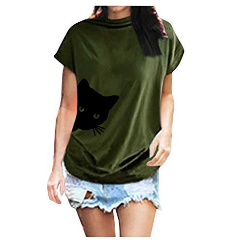 Dorical Damen Kurzarm Tops, Rollkragen Stretch Pullover Katzendruck Oberteile Bluse Tops Sommer Carmen Shirt Loose Fit Top Sweatshirt Elegant T-Shirt(B-Armeegrün,4XL)