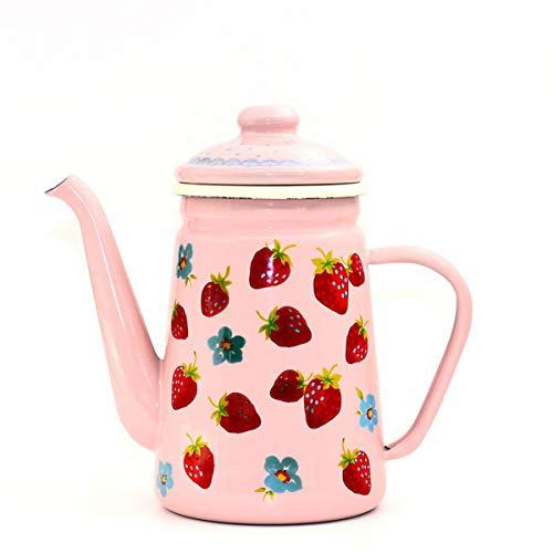 HLONGG Kaffeekanne Kanne 1.1L Emaille Nostalgie Teekanne Emaille Kaffee Kanne Hand Tee Wasserkocher Induktion Herd Gasherd Universal,Rosa