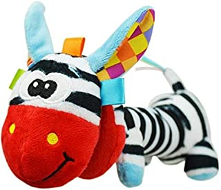 EOFK Sozzy Soft Cute Animal Toys Gentle Rattle Squeaker Sound Plush Rod Lion Monkey Elephant Dog Owl Zebra with Mirror Must Have Tools Boy Gifts The Favourite Anime Superhero Classroom