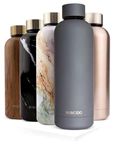 MAMEIDO Trinkflasche Edelstahl - Rauch Grau Matt - 750ml, 0,75l Thermosflasche - auslaufsicher, BPA frei - schlanke isolierte Wasserflasche, leichte doppelwandige Isolierflasche
