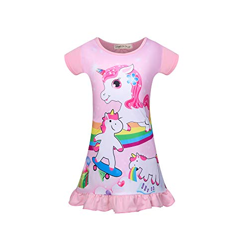 DSL - Camisón de Manga Corta para niña, diseño de Unicornio Rosa 4-5 años