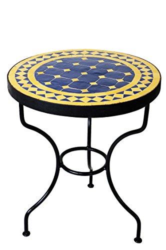 ORIGINAL Marokkanischer Mosaiktisch Beistelltisch ø 40cm rund | Runder Mosaik Gartentisch Mediterran | Handarbeit aus Marokko als Blumentisch für Balkon oder Garten | Marrakesch Blau Gelb 40cm